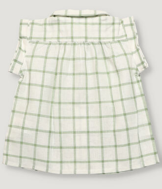 Green and off white vichy baby girl blouse