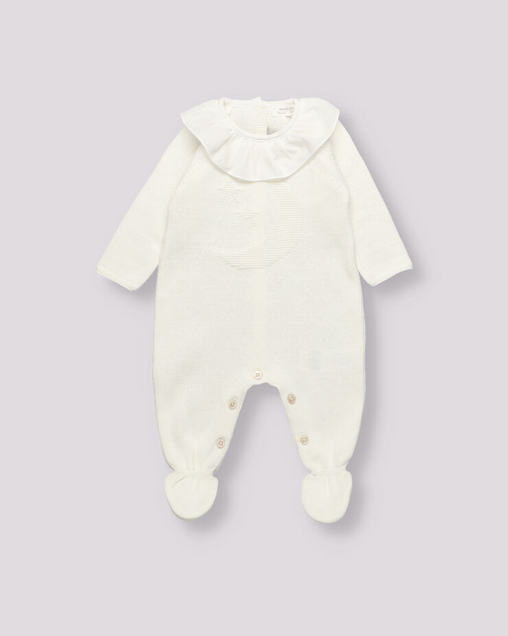 Raw colour knitted sleepsuit