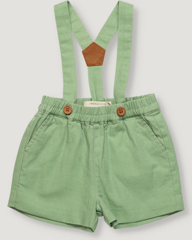 Sand colour baby boy shorts with suspenders.