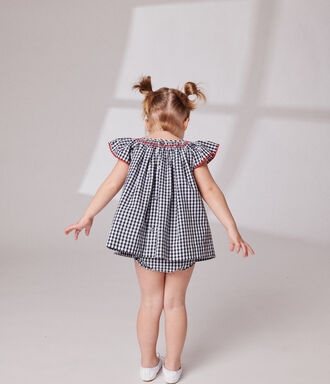 Checked honeycomb dress