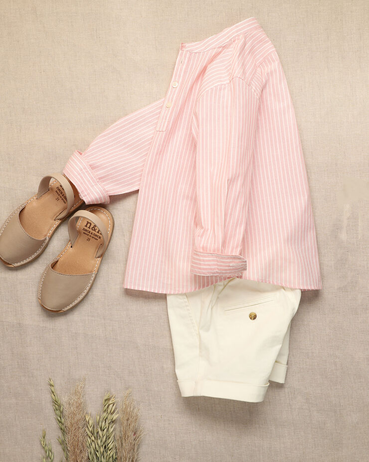 Russet stripped boy shirt with half opening