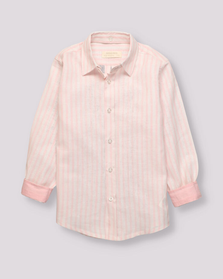 linen pink and white striped boy shirt