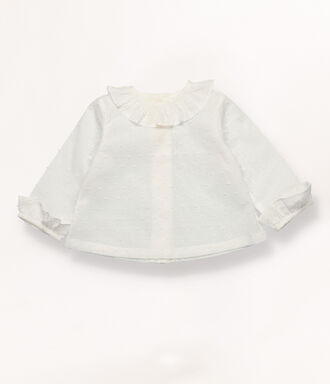 Plumetis shirt with ruffle collar