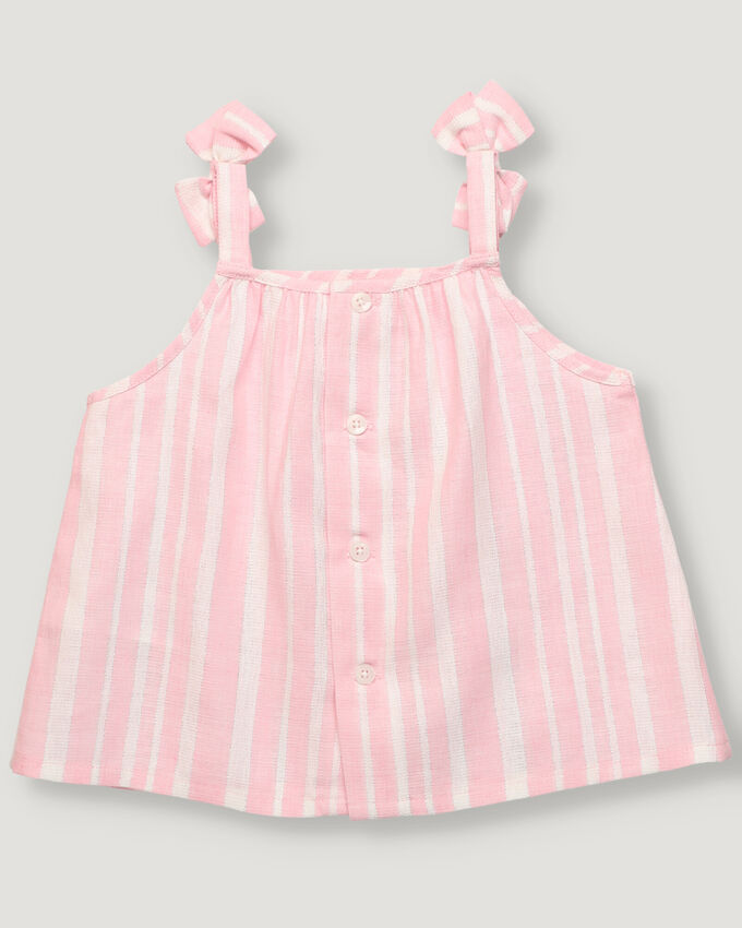 Baby blouse with pink and lurex stripes