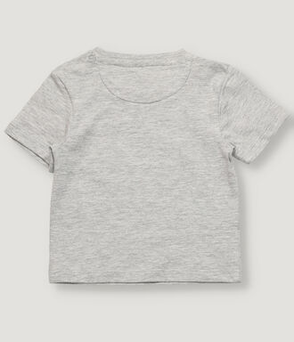 Grey melange new born t-shirt with positional print.