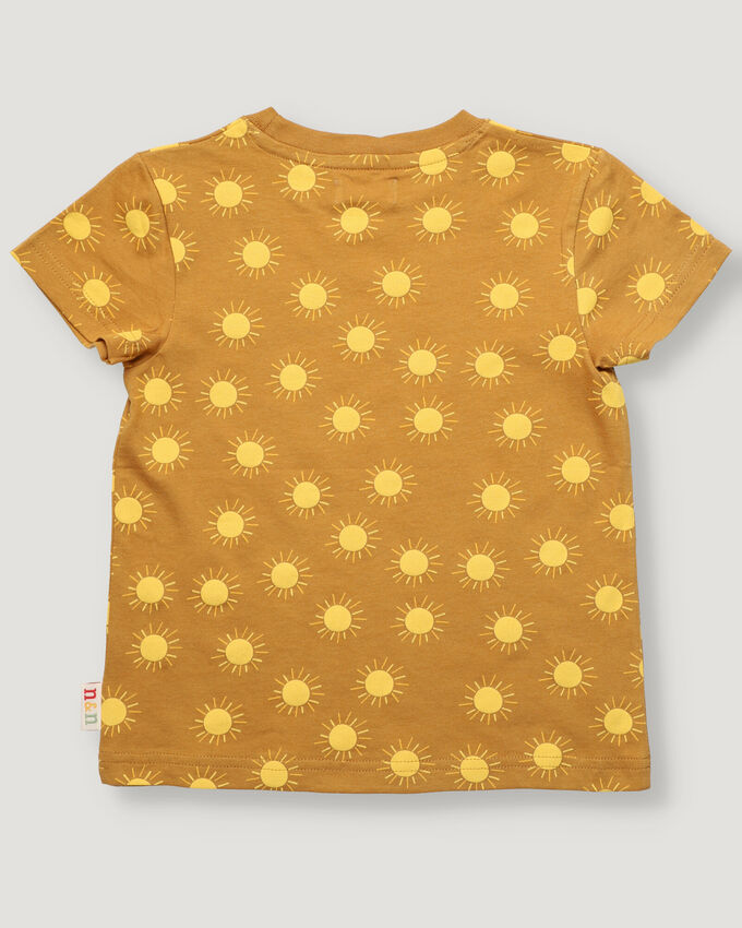 Boy t-shirt with yellow suns all over print.