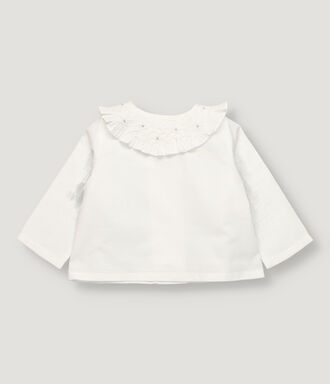 White baby girl blouse with hand-smocked collar