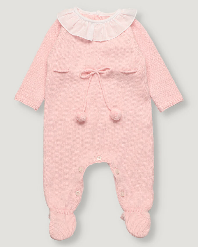 Light pink baby knitted overall with white plumeti collar