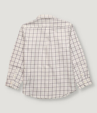 Off white and grey checked boy shirt with button collar