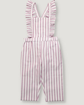 Girl trousers with straps in oxford fabric.