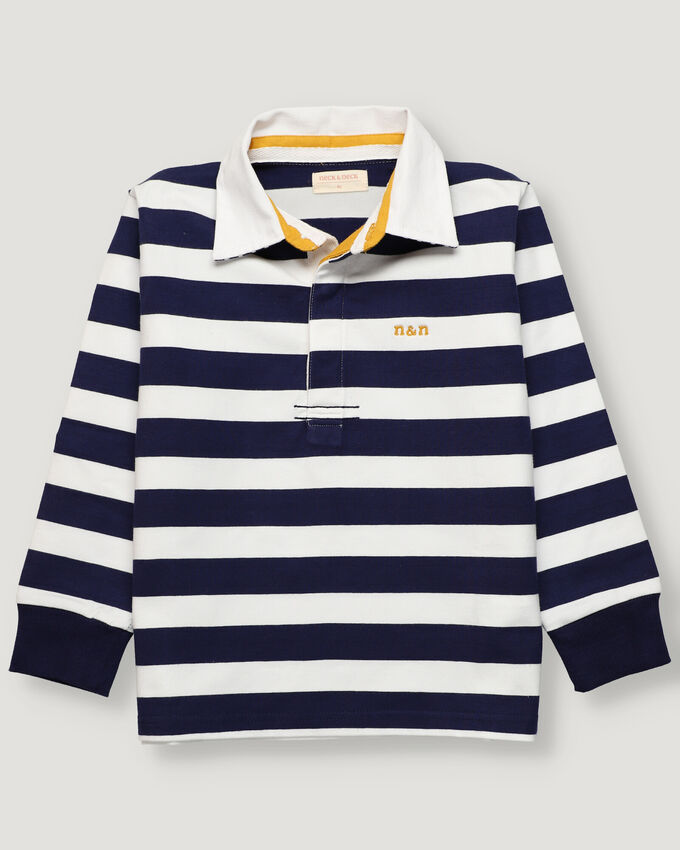 Boy rugby polo with navy and white stripes
