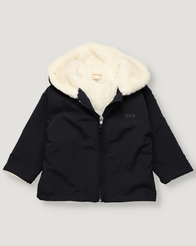 Baby rainjacket in navy nylon and inner faux-fur