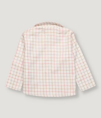 Mustard, grey and salmon checked baby boy shirt with baby collar