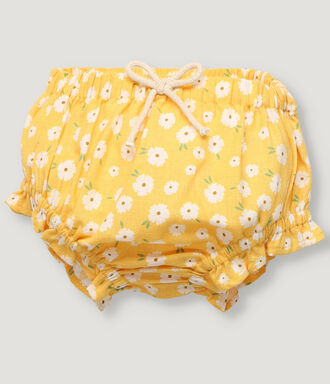 Yellow sunflower print baby girl bloomer with frills details.