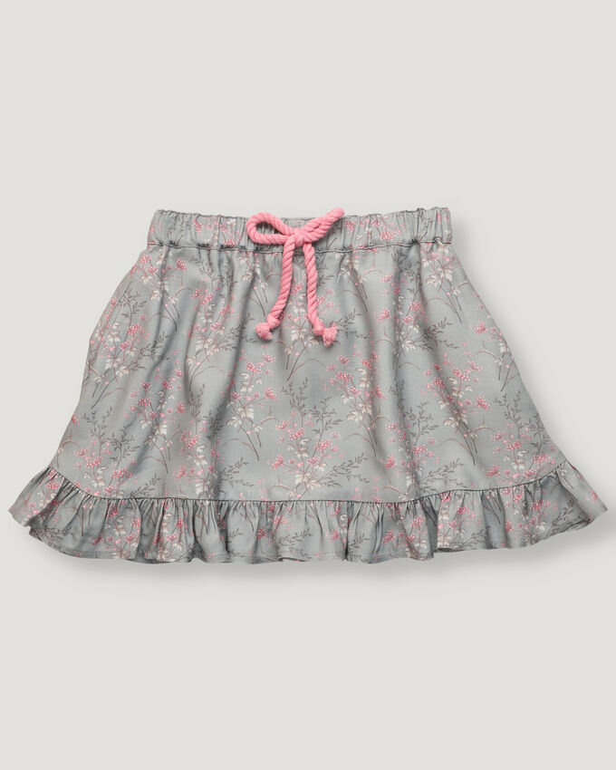 Light green skirt with printed pink and beige flowers