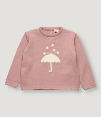 Pink baby girl pullover with front motif