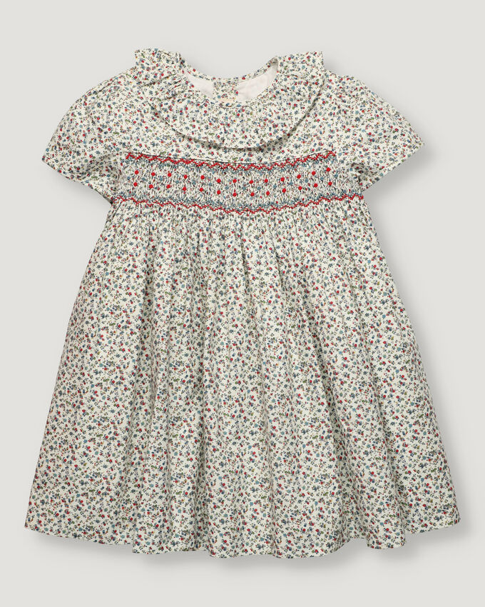 Hand-smocked baby dress with mini-flower pattern in blue and red