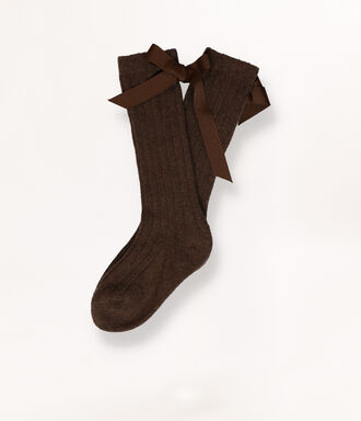 Brown socks with contrast bow